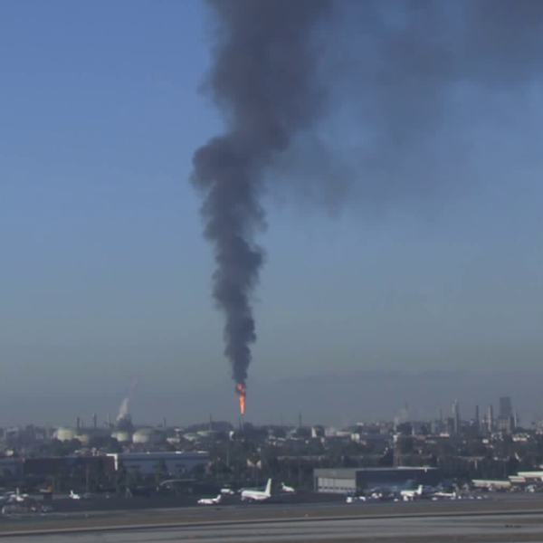 The flare-off at the El Segundo refinery is seen from an LAX camera on Sept. 17, 2018.