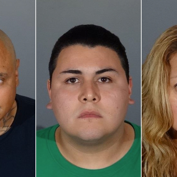 From left: Vidal Larios, Angel Franco and Elizabeth Franco are seen in booking photos released Sept. 20, 2018, by Covina police.