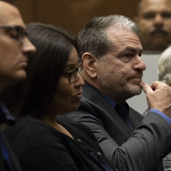 Kevin Bom, Stefanie Rodriguez, Gregory Merritt and Patricia Clement, are seen left to right in court on Sept. 13, 2018. (Credit: Irfan Khan / Los Angeles Times)