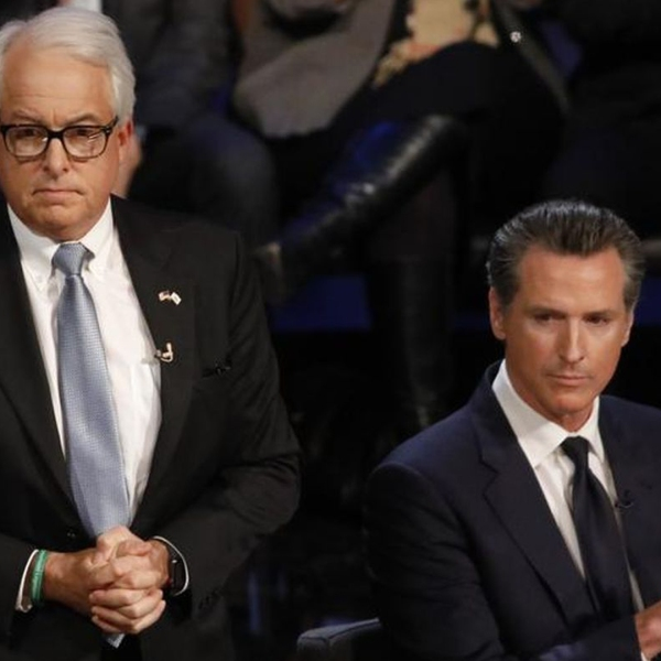 Gubernatorial candidates John Cox, left, and Lt. Gov. Gavin Newsom are seen before a debate at UCLA in January 2018. (Credit: Genaro Molina / Los Angeles Times)