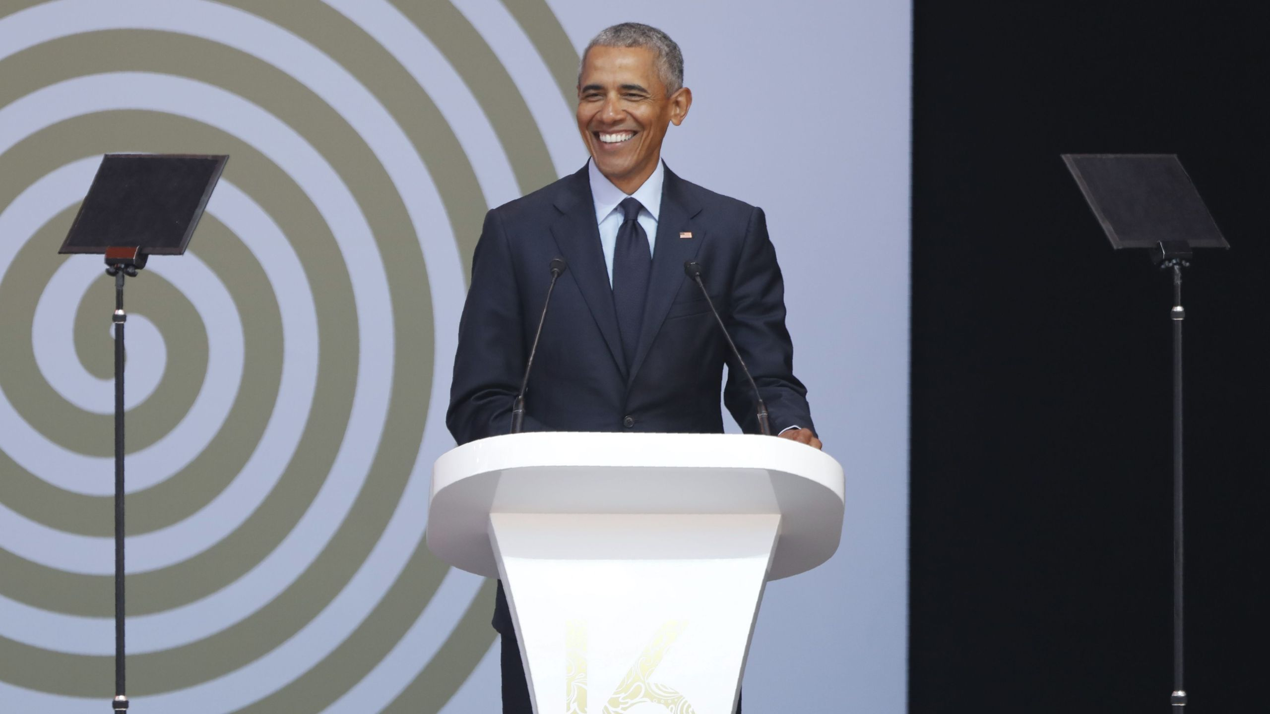 Former President Barack Obama speaks during the 2018 Nelson Mandela Annual Lecture in Johannesburg on July 17, 2018. (Credit: Marco Longari / AFP / Getty Images)