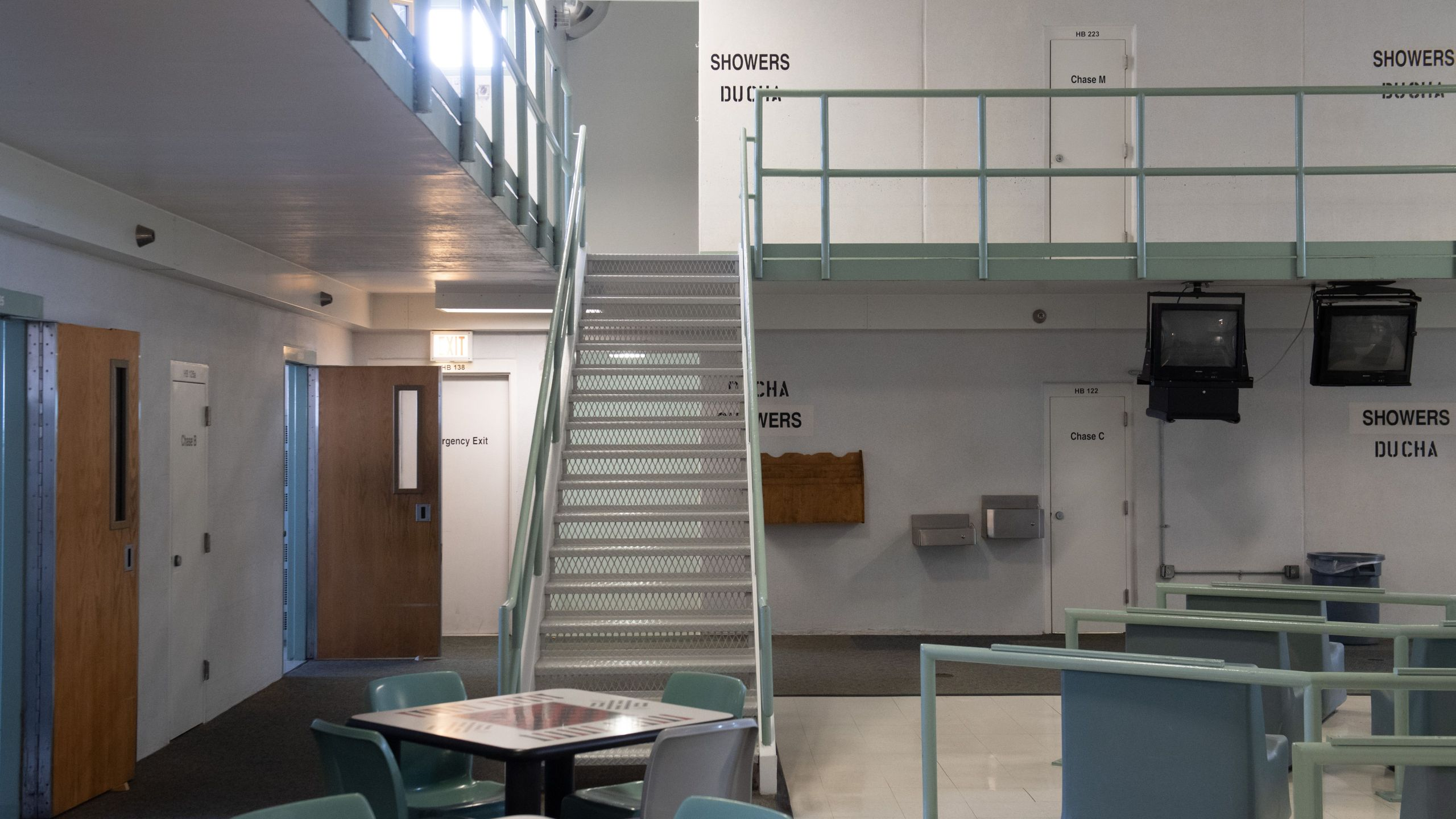 A common area and cell room doors are seen on Aug. 13, 2018, inside the Caroline Detention Facility in Bowling Green, Virginia, a former regional jail contracted by U.S. Immigration and Customs Enforcement. (Credit: Saul Loeb / AFP / Getty Images)