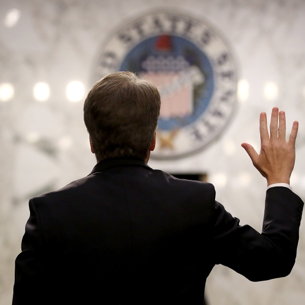Supreme Court nominee Judge Brett Kavanaugh is sworn in before the Senate Judiciary Committee during his Supreme Court confirmation hearing on Capitol Hill, Sept. 4, 2018. (Credit: Mark Wilson / Getty Images)