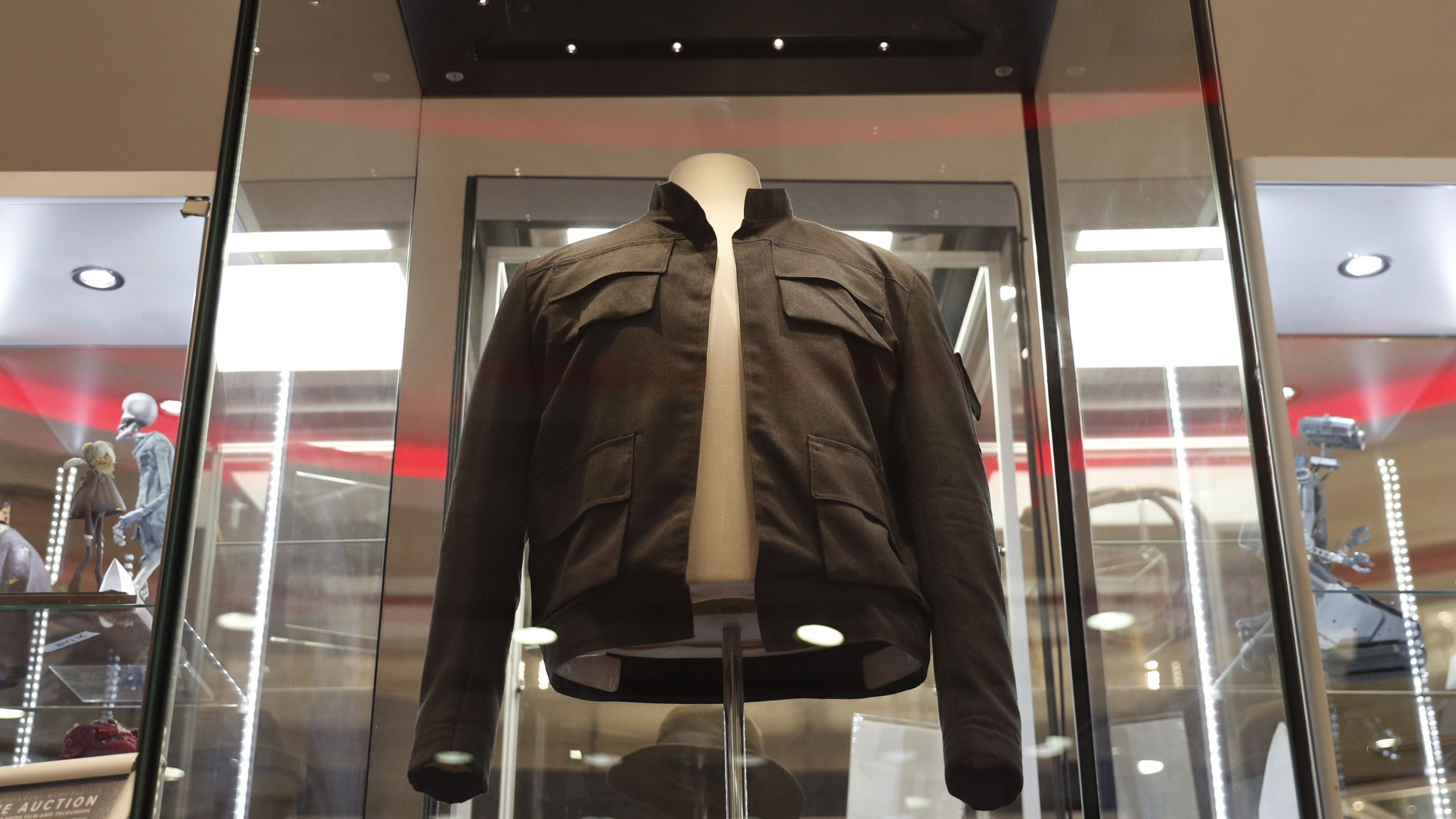 The jacket worn by Harrison Ford's character Han Solo in the 'Star Wars: The Empire Strikes Back' film is on show at the Imax in central London on September 6, 2018 and will be auctioned on September 20. (Credit: ADRIAN DENNIS/AFP/Getty Images)