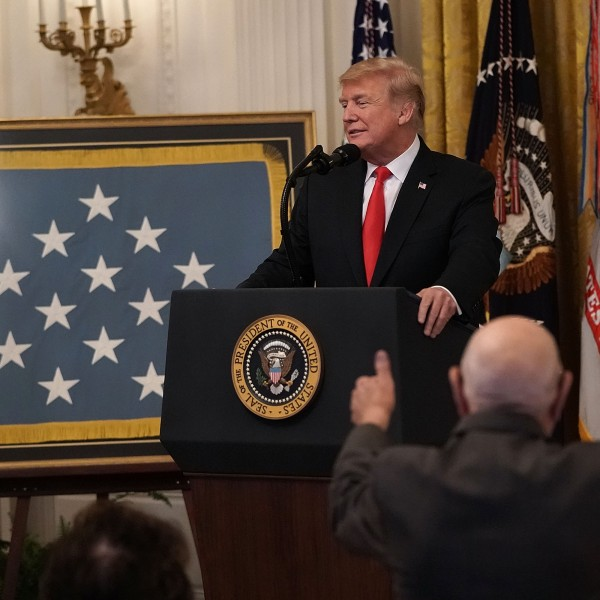 Donald Trump delivers remarks during a Congressional Medal of Honor Society reception at the East Room of the White House on Sept. 12, 2018. (Credit: Alex Wong/Getty Images)