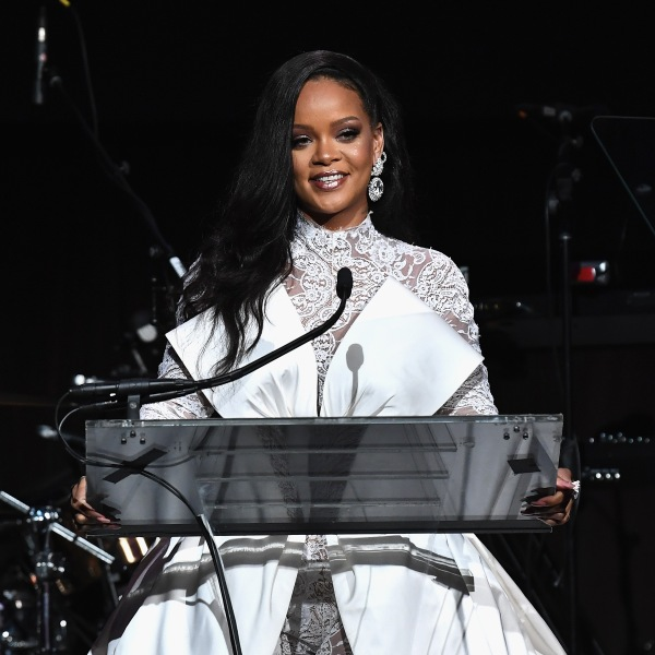 Rihanna speaks onstage during Rihanna's 4th Annual Diamond Ball benefitting The Clara Lionel Foundation at Cipriani Wall Street on Sept. 13, 2018 in New York City. (Credit: Dimitrios Kambouris/Getty Images)