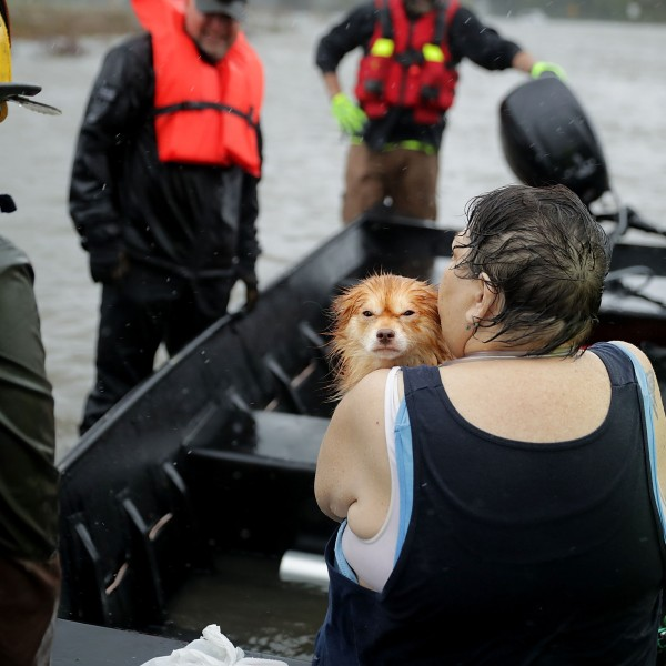 Rescue workers from Township No. 7 Fire Department and volunteers from the Civilian Crisis Response Team use a boat to rescue a woman and her dog from their flooded home during Hurricane Florence September 14, 2018 in James City, North Carolina. (Credit: Chip Somodevilla/Getty Images)