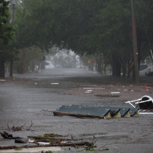 Flood waters rise up from the Neuse River in New Bern, North Carolina, September 14, 2018 during Hurricane Florence. (Credit: LOGAN CYRUS/AFP/Getty Images)