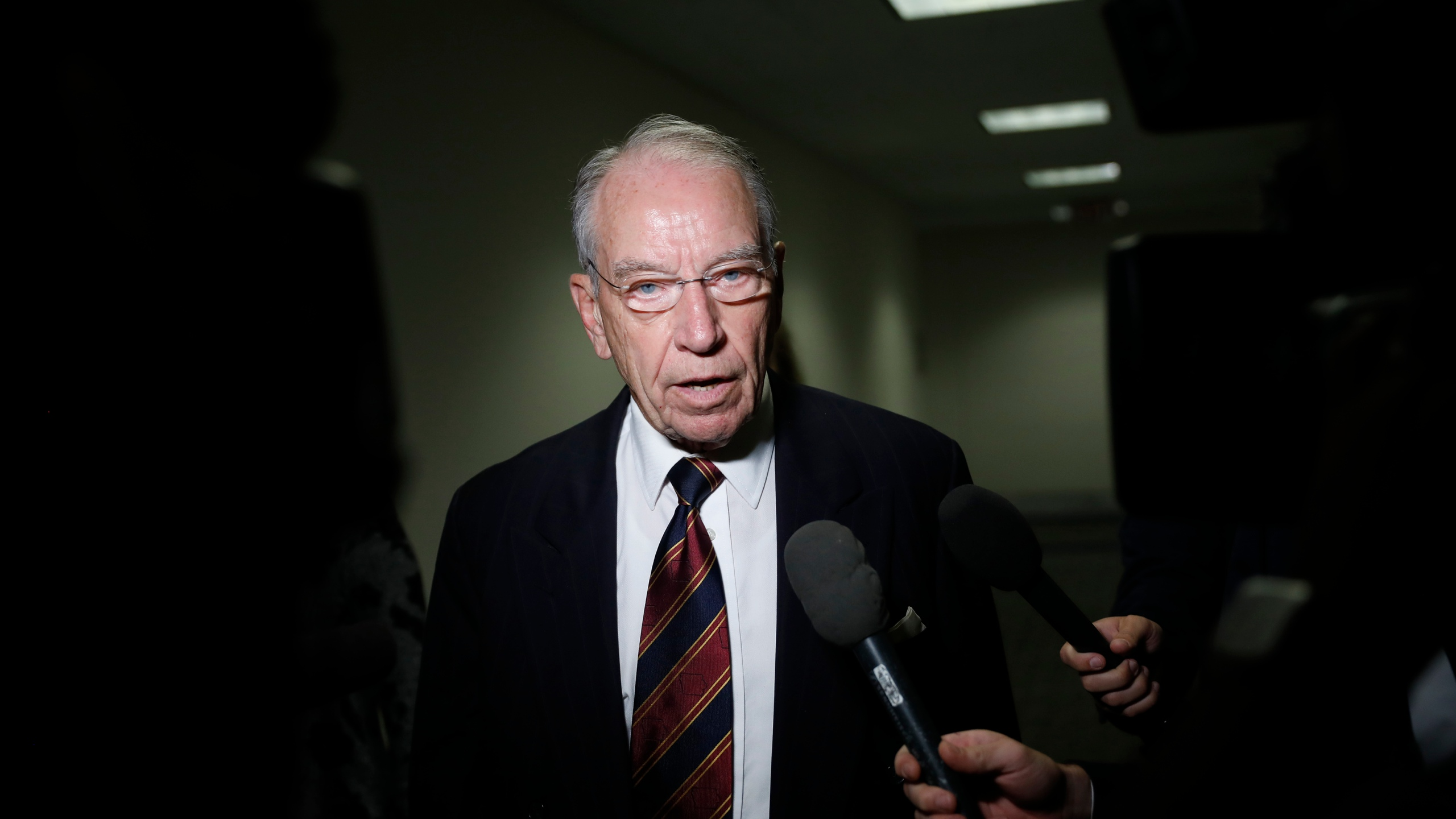 Sen. Chuck Grassley, R-Iowa, speaks with reporters about Supreme Court nominee Brett Kavanaugh on Capitol Hill on Sept.18, 2018 in Washington, D.C. (Credit: Aaron P. Bernstein/Getty Images)