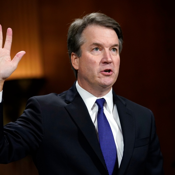 Supreme Court nominee Brett Kavanaugh is sworn in to testify before the Senate Judiciary Committee on Capitol Hill on September 27, 2018 in Washington, DC. (Credit: by Andrew Harnik - Pool/Getty Images)