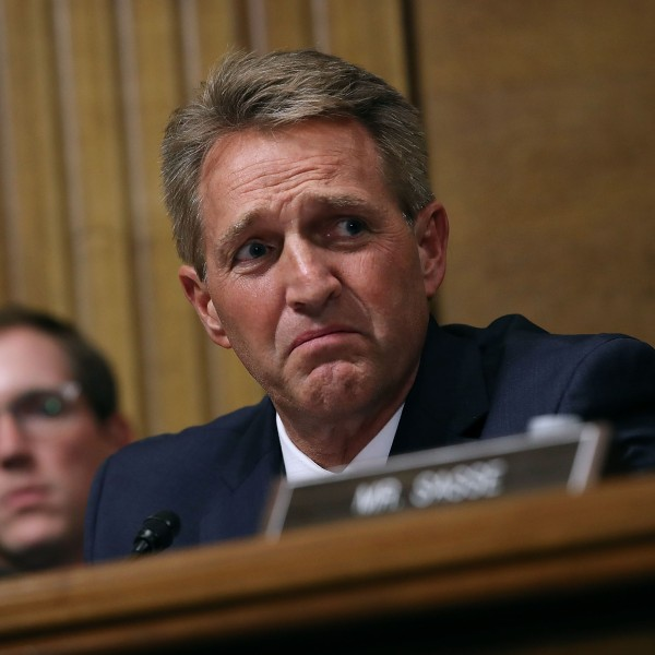 Senate Judiciary Committee member Sen. Jeff Flake, R-AZ, questions Judge Brett Kavanaugh during his Supreme Court confirmation hearing in the Dirksen Senate Office Building on Capitol Hill Sept.27, 2018 in Washington, D.C. (Credit: Win McNamee/Getty Images)