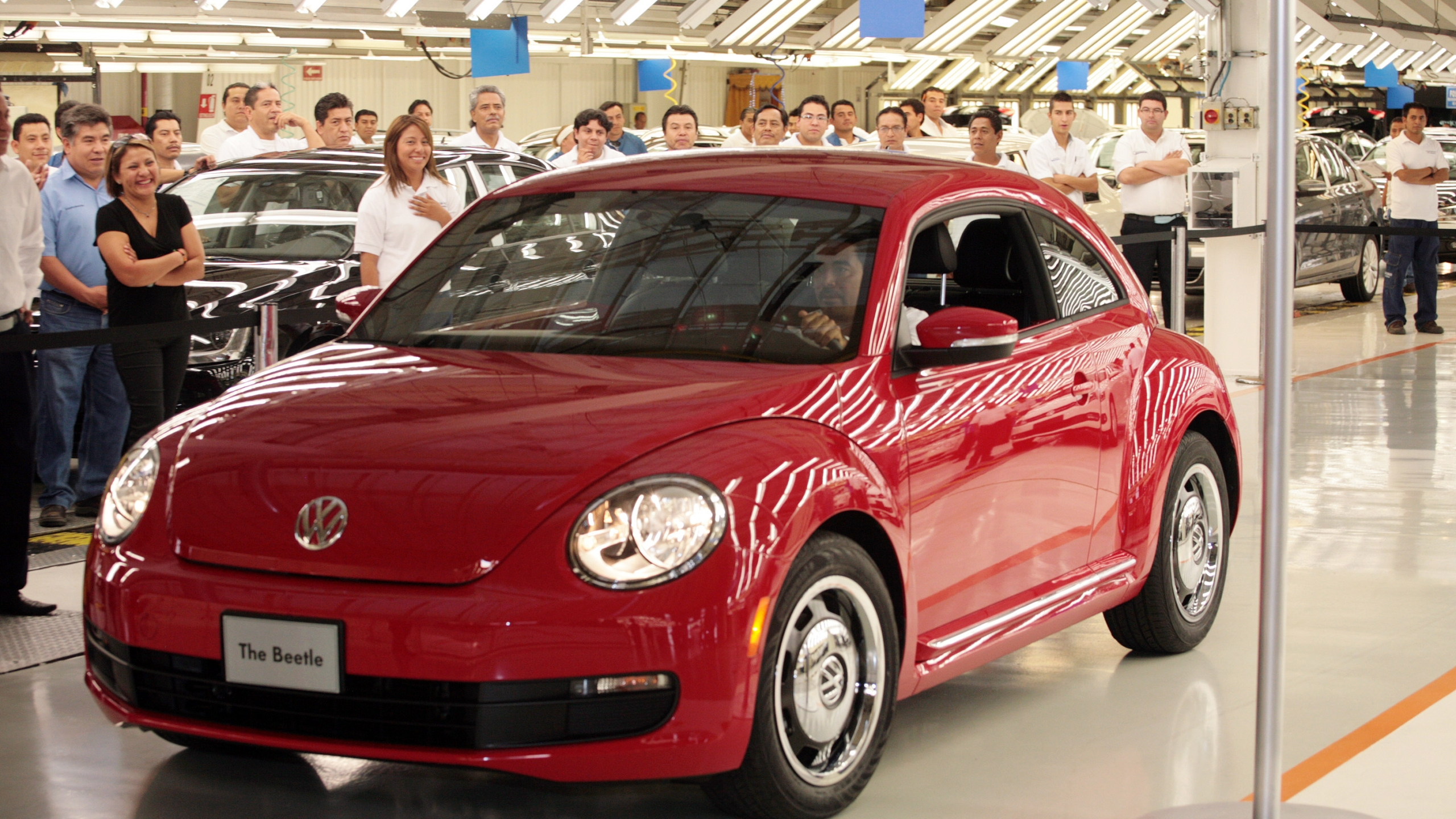 The latest incarnation of Volkswagen's iconic car, the Beetle, is presented to the media at the auto factory in Puebla State, Mexico on July 15, 2011. (Credit: Jose Castañares/AFP/Getty Images)