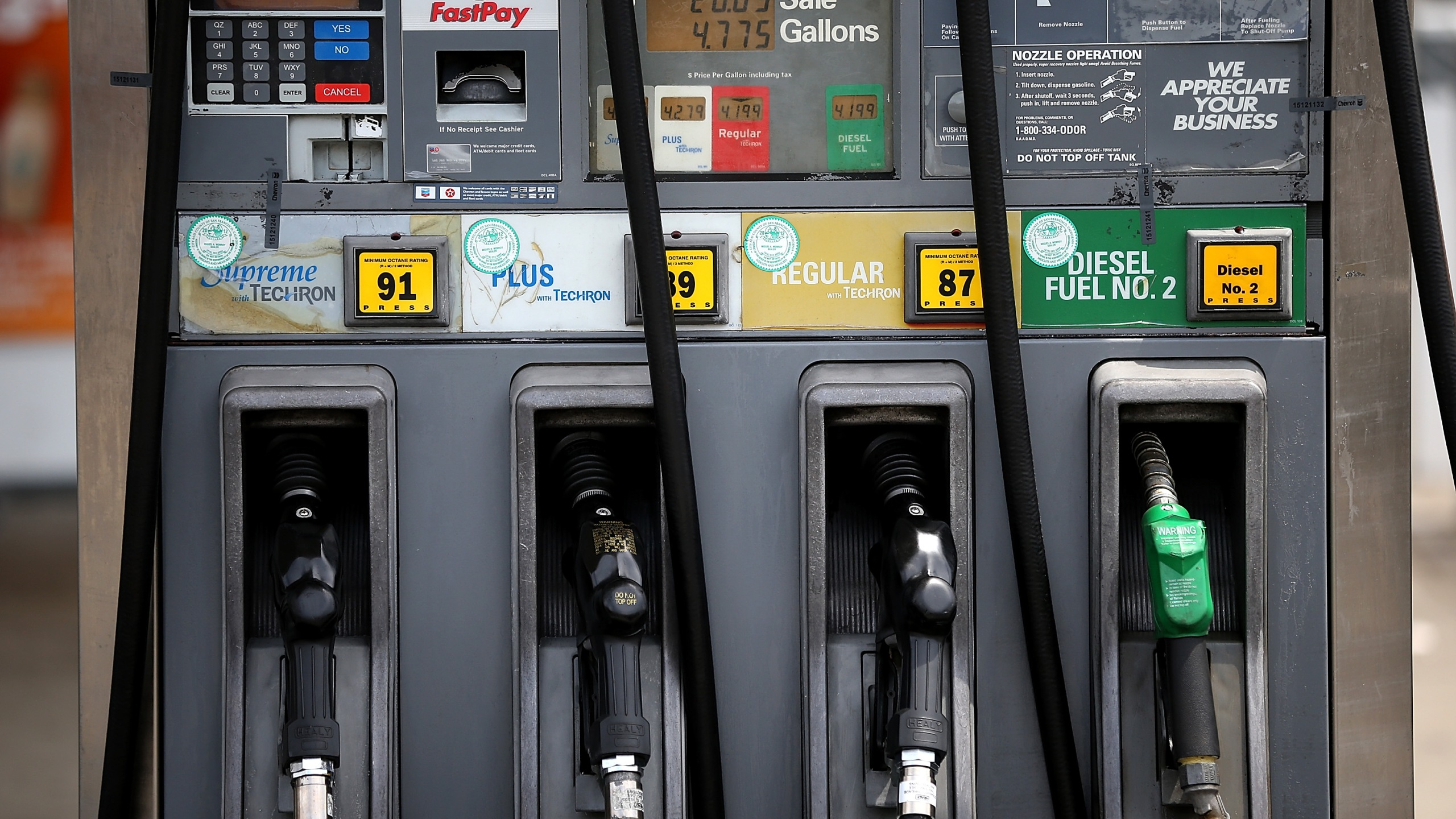 Gas pumps are seen at a Chevron gas station on July 22, 2013 in San Francisco. (Credit: Justin Sullivan/Getty Images)