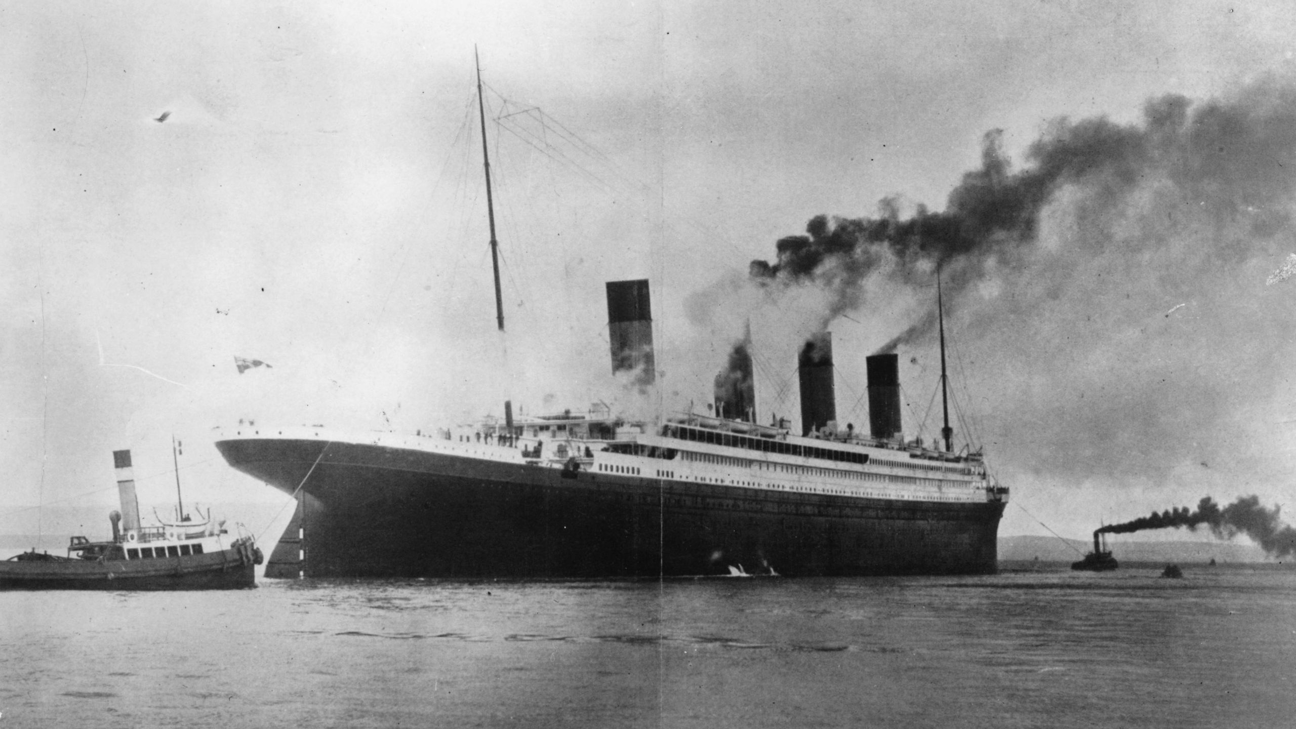 The Titanic is seen in Belfast Lough in 1912. (Credit: Topical Press Agency/Getty Images)