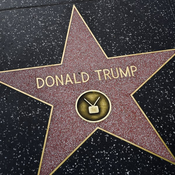 Donald Trump's star appears on the Hollywood Walk of Fame on Sept. 10, 2015 in Hollywood. (Credit: ROBYN BECK/AFP/Getty Images)
