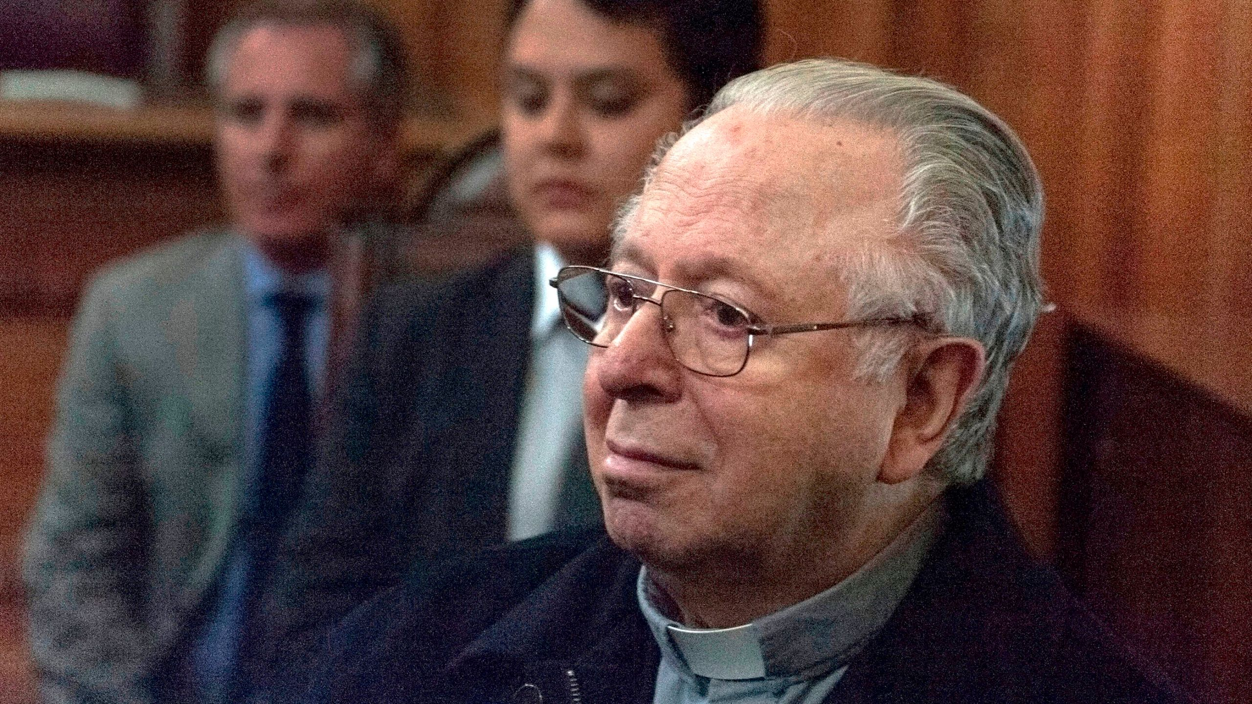 Chilean priest Fernando Karadima appears in court of Santiago on November 11 2015 to testify in a civil lawsuit against the Archdiocese of Santiago for allegedly sexual abuse cover up. (Credit: VLADIMIR RODAS/AFP/Getty Images)