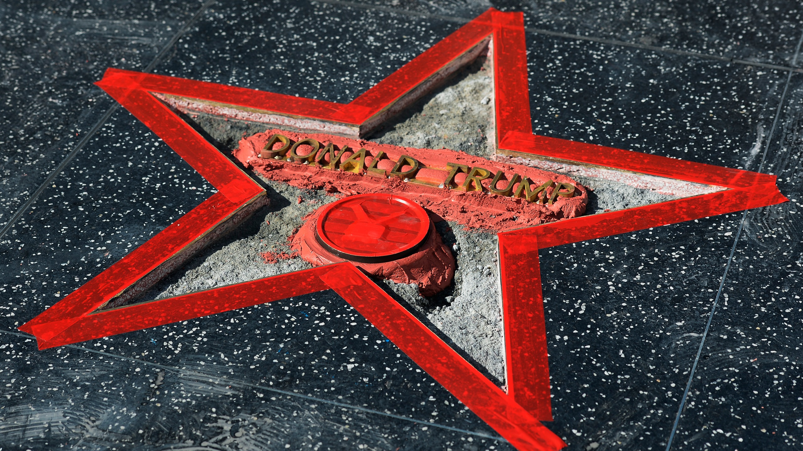 Donald Trump's Hollywood Walk Of Fame Star is repaired after it was vandalized October 26, 2016 in Hollywood. (Credit: Kevork Djansezian/Getty Images)