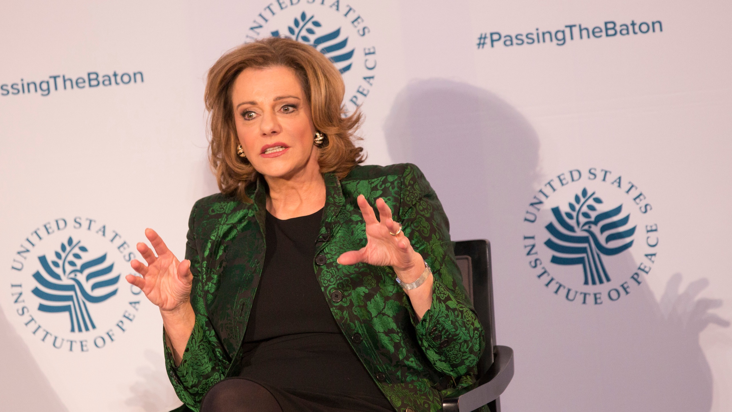 """Kathleen Troia """"K.T."""" McFarland, then Deputy National Security Advisor Designate, speaks during a conference on the transition of the U.S. presidency from Obama to Trump at the U.S. Institute of Peace in Washington D.C., Jan. 10, 2017. (Credit: CHRIS KLEPONIS/AFP/Getty Images)"""