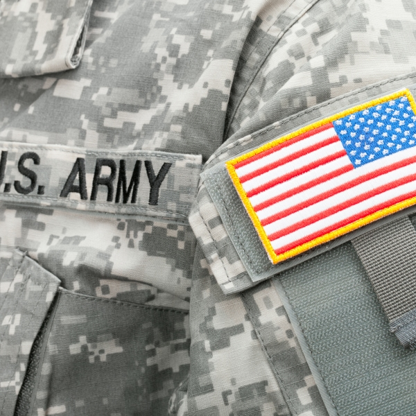 A file photo shows a U.S. flag patch on an American soldier's uniform. (Credit: Getty Images)