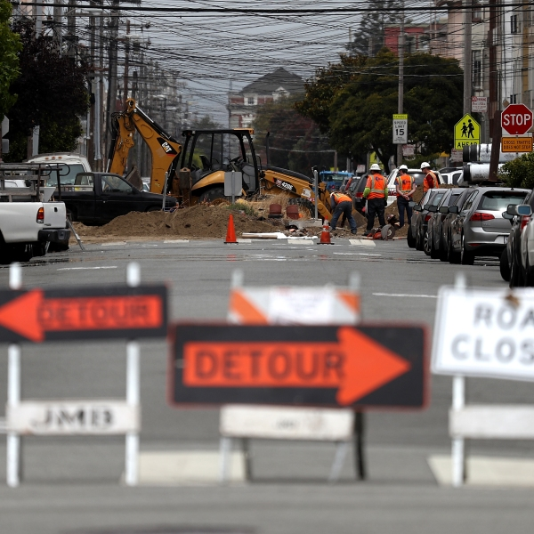 A street in San Francisco is blocked off for repairs on July 12, 2017. (Credit: Justin Sullivan / Getty Images)