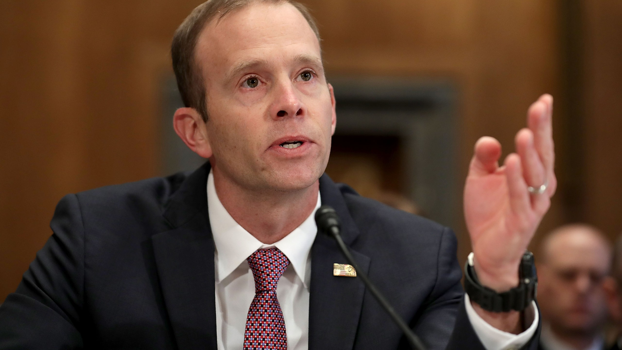 Federal Emergency Management Agency Administrator Brock Long testifies before the Senate Homeland Security and Governmental Affairs Committee in the Dirksen Senate Office Building on Capitol Hill October 31, 2017 in Washington, DC. (Credit: Chip Somodevilla/Getty Images)