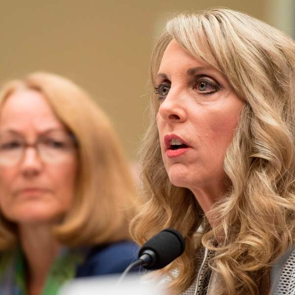President and CEO of USA Gymnastics Kerry Perry (R) testifies in Washington, DC, on May 23, 2018. (Credit: JIM WATSON/AFP/Getty Images)