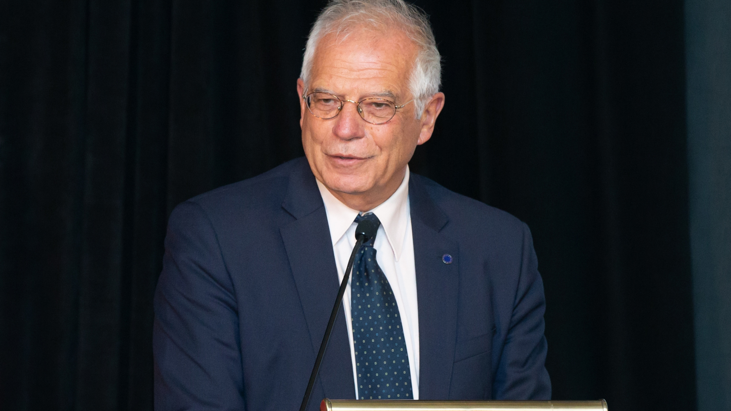 Spain's Minister of Foreign Affairs Josep Borrell addresses the Carolina Foundation Hispanic Leaders Summit at the Hyatt Regency Hotel on June 18, 2018 in San Antonio, Texas. (Credit: Suzanne Cordeiro/AFP)