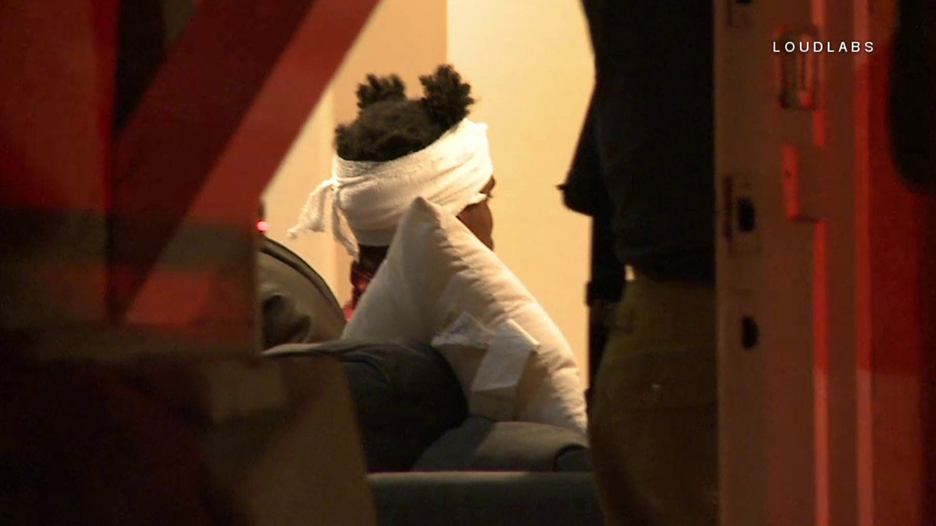 A man is treated following a home-invasion robbery in Hollywood Hills on Sept. 24, 2018. (Credit: Loudlabs)