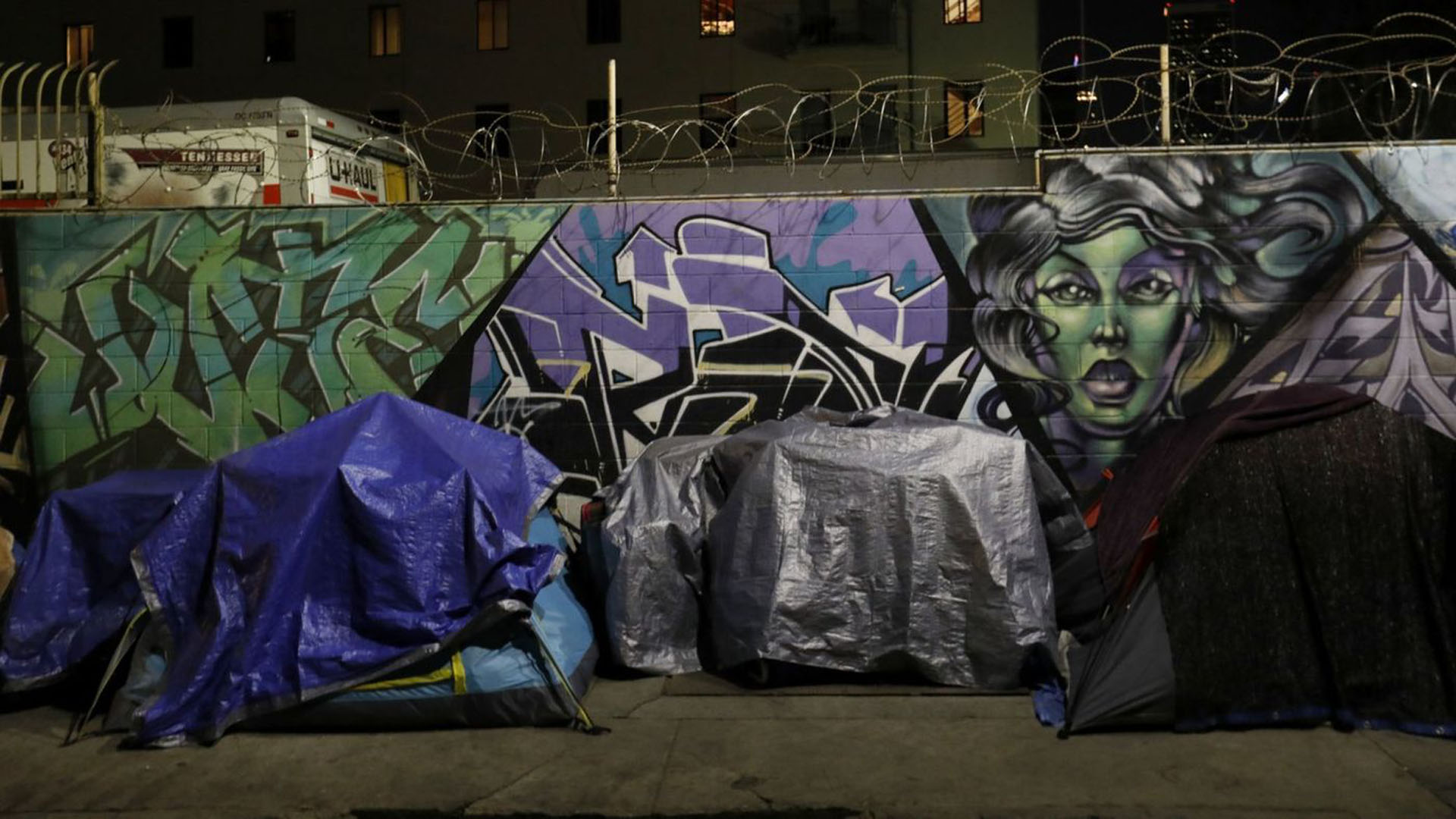 In this file photo, tents line San Julian Street on skid row. (Credit: Francine Orr / Los Angeles Times)