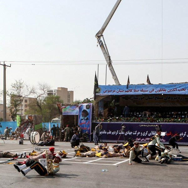 At least 25 people were killed and 60 others injured in an attack on a military parade in Iran's southwestern city of Ahvaz on Saturday, Iran's semi-official Fars News Agency reported, citing Deputy Governor-General of Khouzestan province Hossein Hosseinzadeh. (Credit: Alireza Mohammad/AFP/Getty)