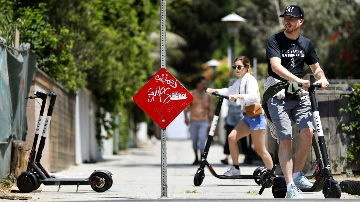 People ride electric Bird scooters in this undated image. (Credit: Christina House / Los Angeles Times)