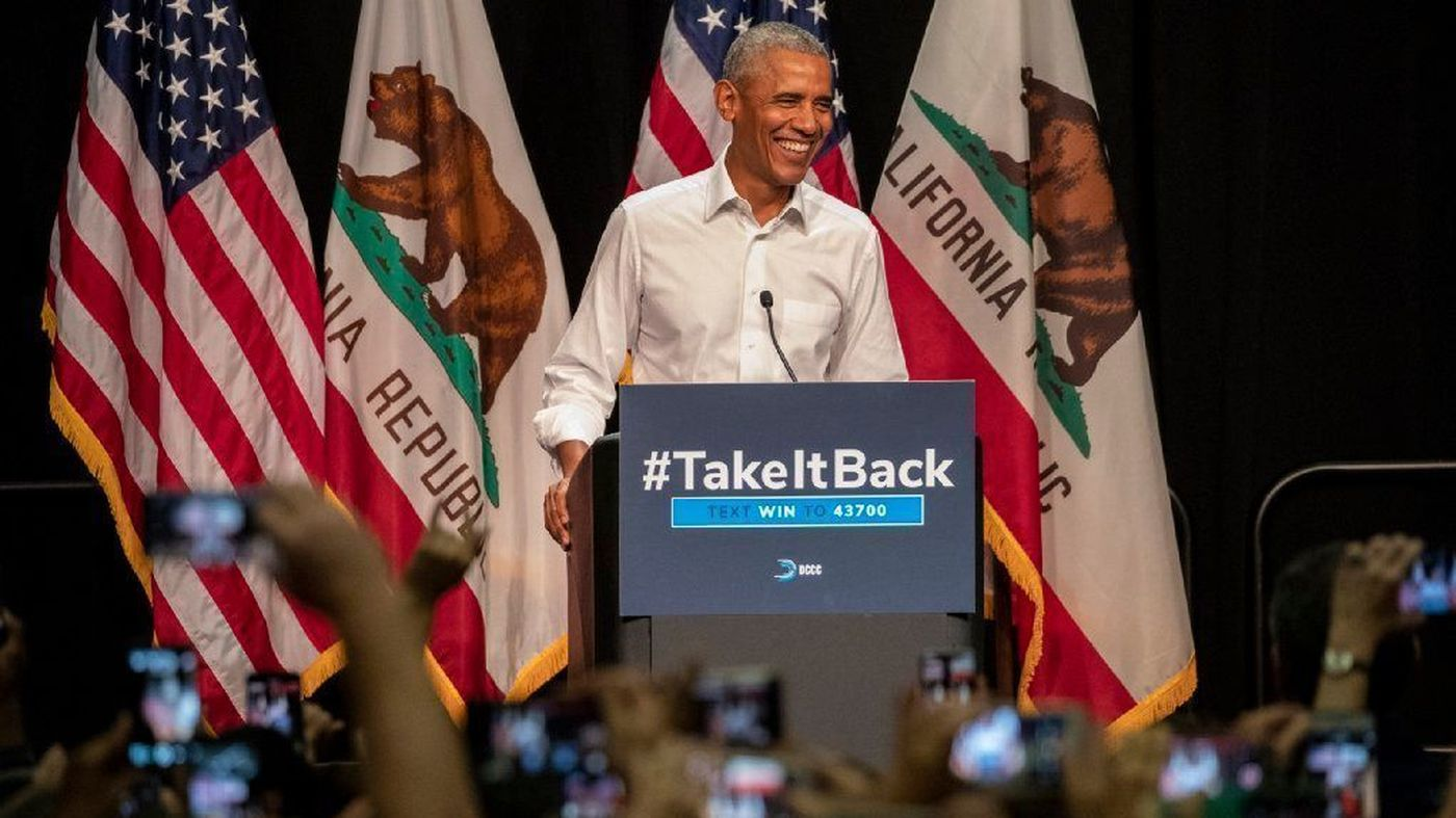 Former President Barack Obama speaks at a campaign event in Anaheim on Saturday. (Credit: Irfan Khan / Los Angeles Times)