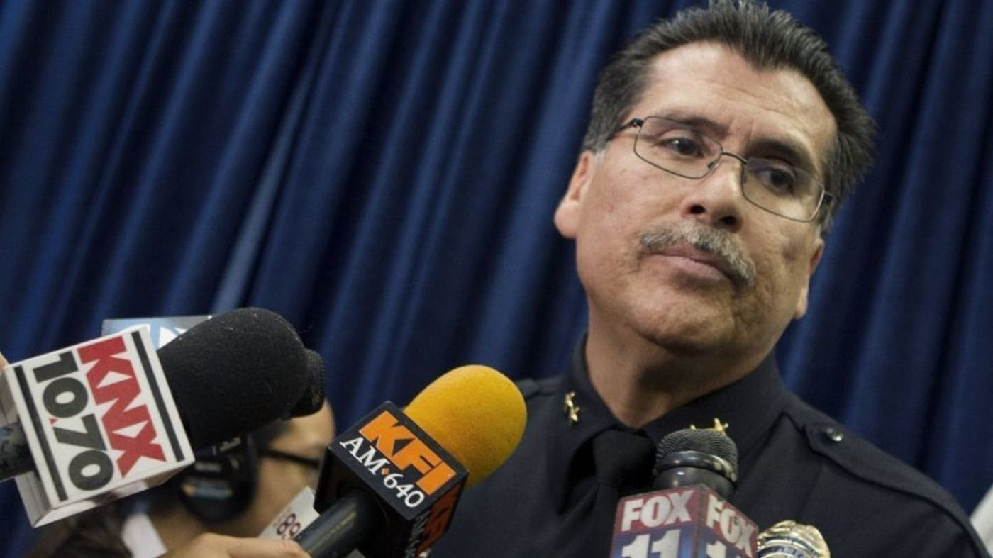 Long Beach Police Chief Robert Luna is seen during a 2014 news conference. (Credit: Cheryl A. Guerrero / Los Angeles Times)