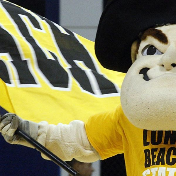 Cal State Long Beach mascot Prospector Pete fires up the crowd before a game at the Pyramid in 2011. (Credit: Luis Sinco / Los Angeles Times)