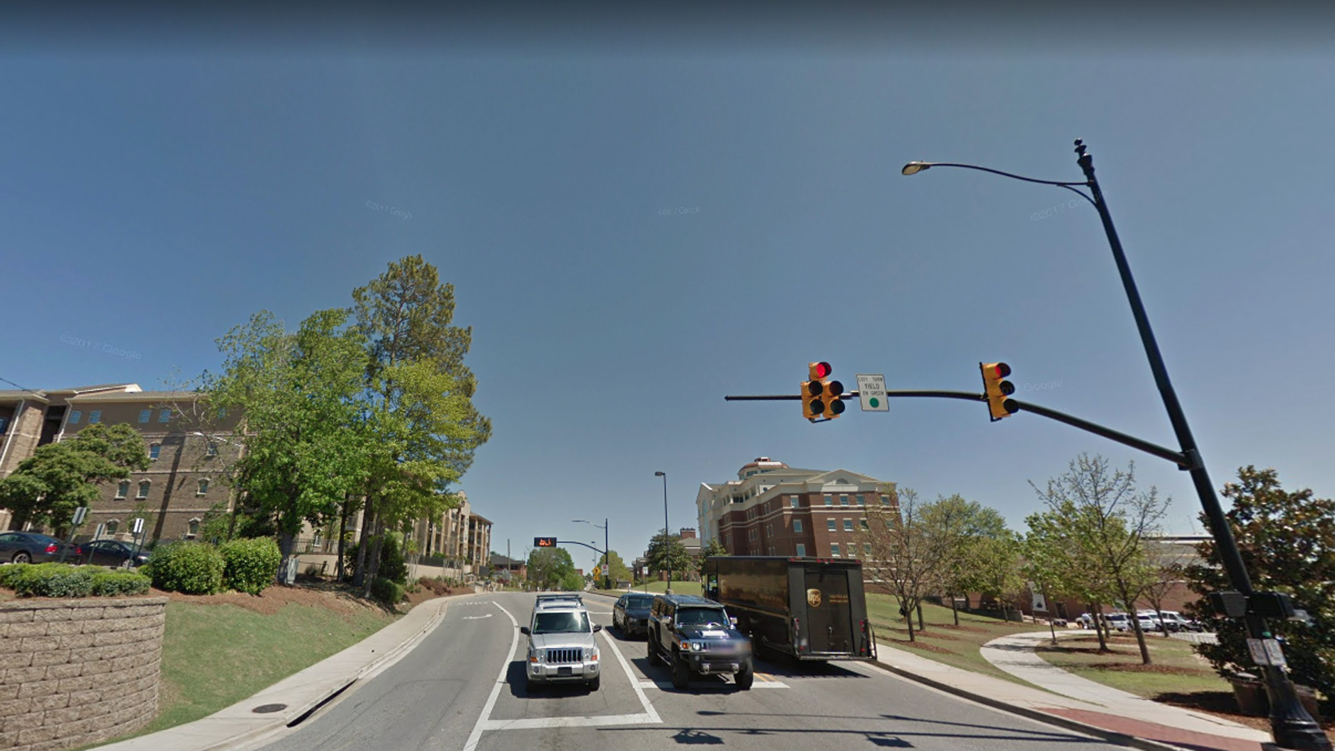 An area of West Magnolia Avenue near Auburn University in Alabama, which is near where one person was killed and fours others wounded in a shooting, is seen in this undated image. (Credit: Google Maps)