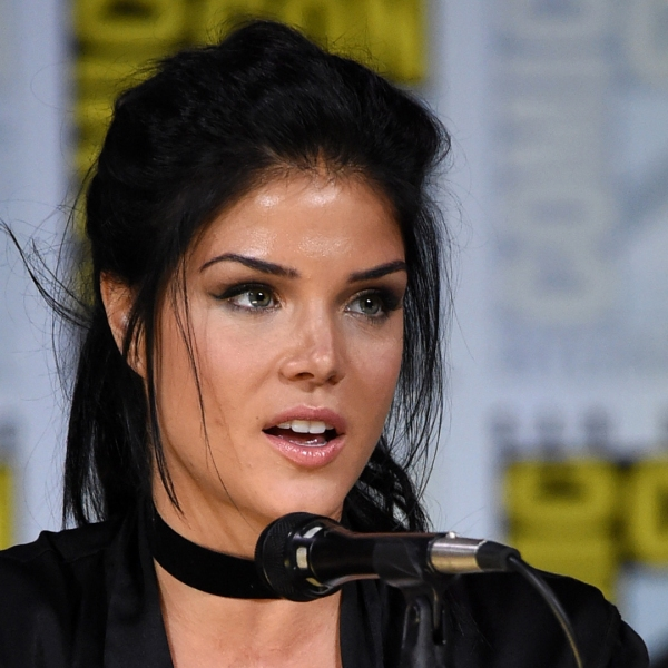 """Marie Avgeropoulos speaks onstage at Comic-Con International 2017 """"The 100"""" panel at San Diego Convention Center on July 21, 2017. (Credit: Mike Coppola/Getty Images)"""