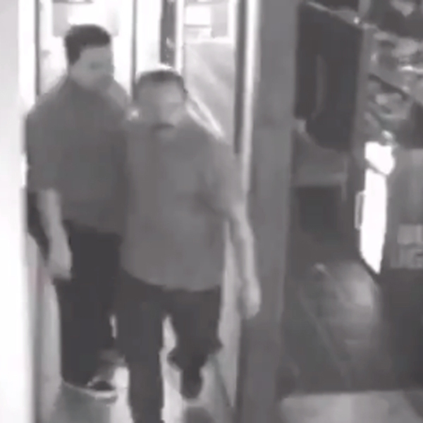 The Covina Police Department is seeking the man pictured in this surveillance camera image, center, who investigators say attacked another man with a beer mug at a Covina bar on Aug. 17, 2018, fracturing the victim's skull.