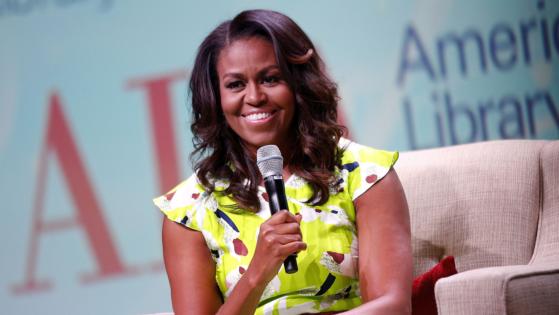 Former first lady Michelle Obama discusses her forthcoming memoir titled, 'Becoming', during the 2018 American Library Association Annual Conference on June 22, 2018 in New Orleans. . (Credit: Jonathan Bachman/Getty Images)