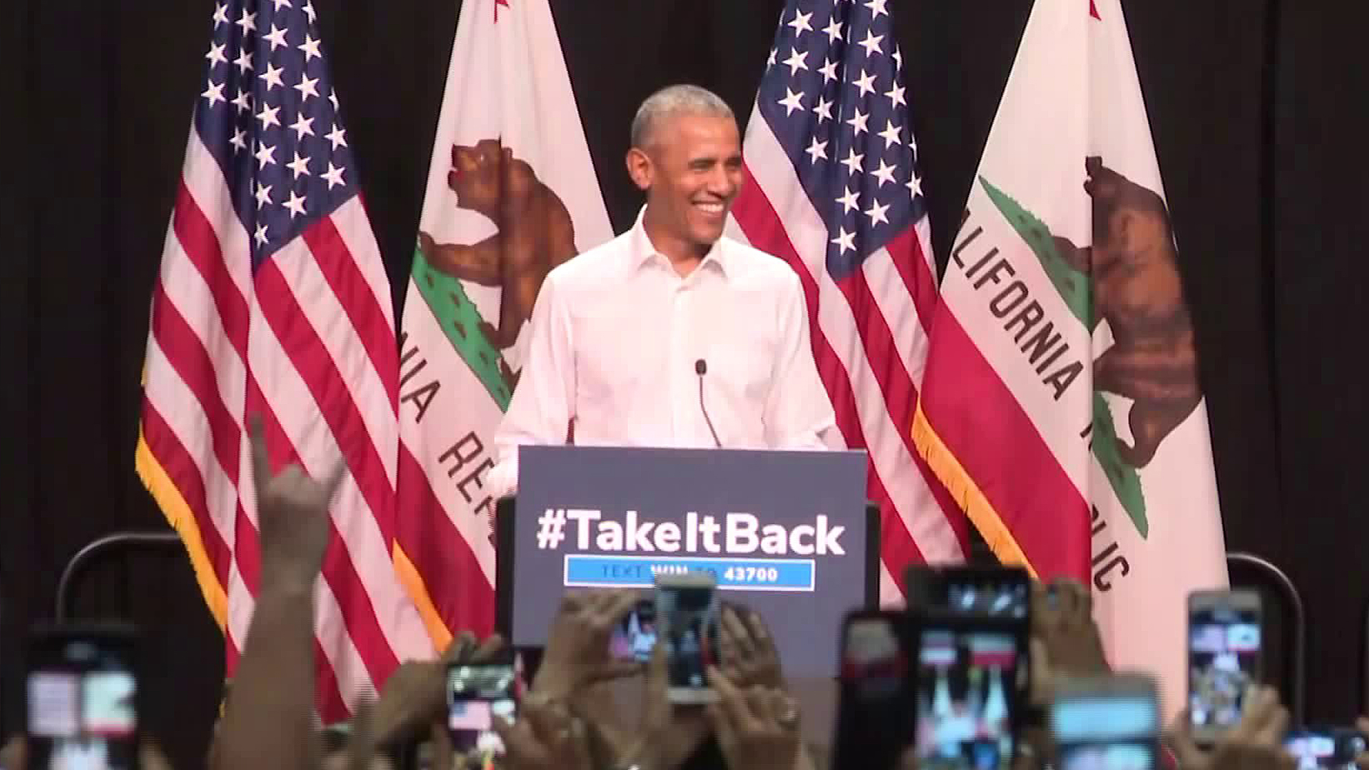 Former President Barack Obama speaks at a rally for Democrats in Anaheim on Sept. 8, 2018. (Credit: CNN)