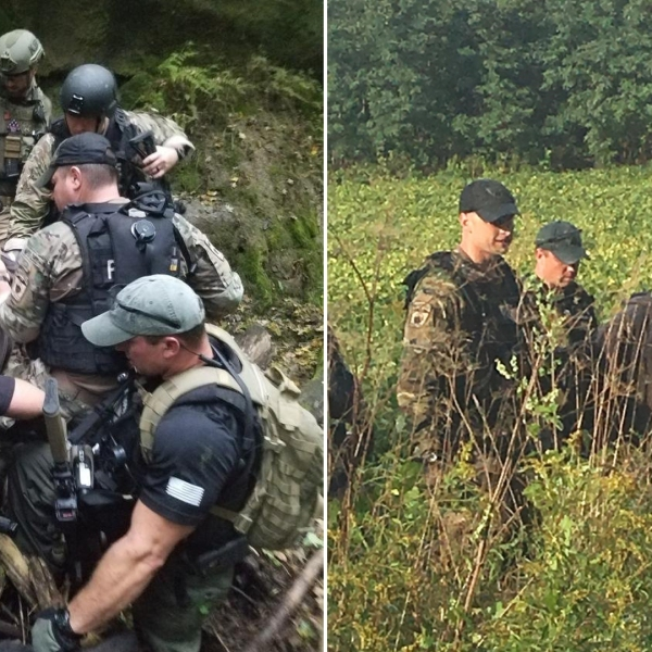 Shawn Christy is seen being apprehended in Ohio in images released by the FBI, at left, and at right by U.S. Marshals Service on Sept. 21, 2018.