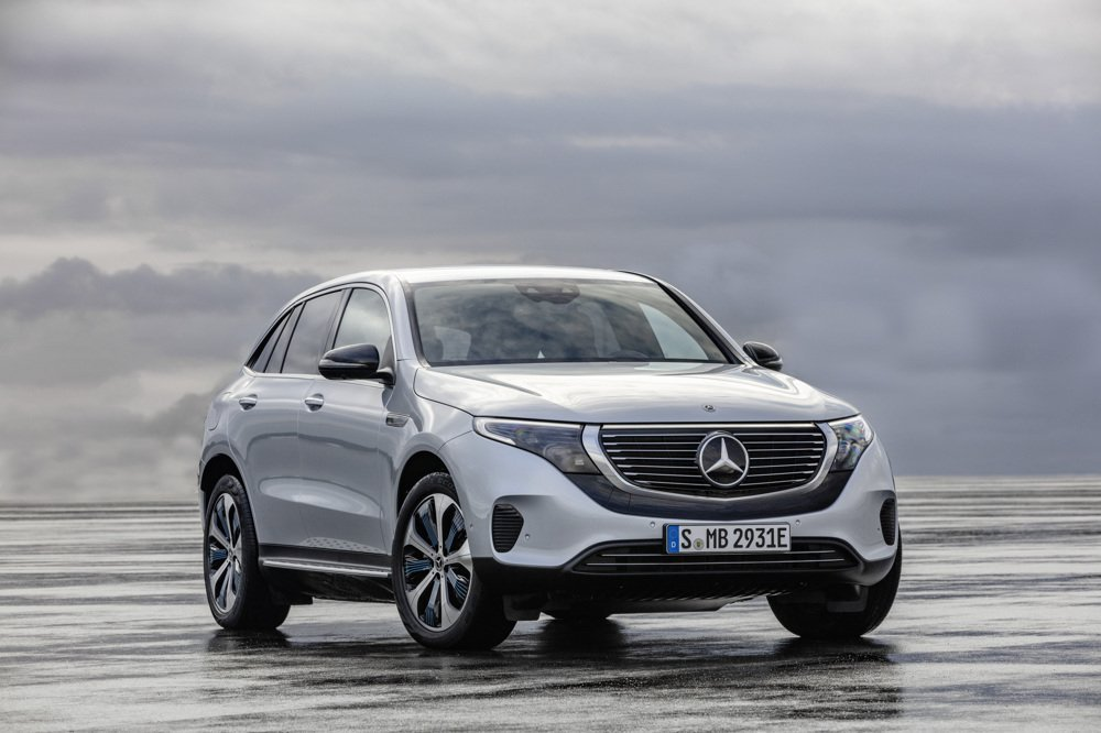 The Mercedes-Benz EQC, the carmaker's first all-electric SUV, is distinguished by a black band running under the grill and a bar of white light above it. (Credit: Mercedes-Benz via CNN)