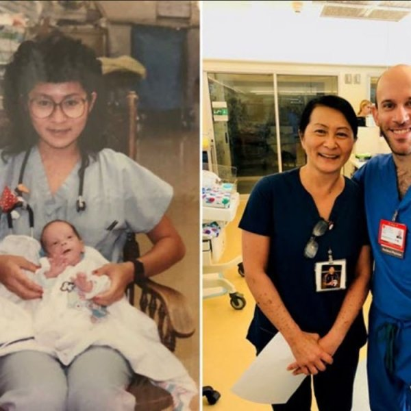 On left, Lucile Packard Children's Hospital nurse Vilma Wong holds Brandon Seminatore when he was just 29 weeks old and a premature infant. The two now work together at the hospital in Palo Alto. They are pictured in a more recent but undated photo on the right. (Credit: Lucile Packard Children's Hospital Stanford via CNN)