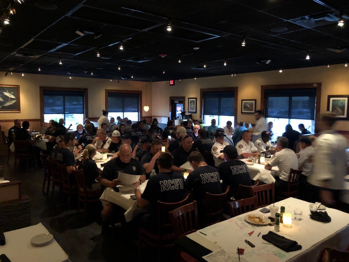 Bonefish Grill in North Charleston fed about 100 different first responders on Sept. 13, 2018. (Credit: @BFGCharleston/Twitter via CNN Wire)