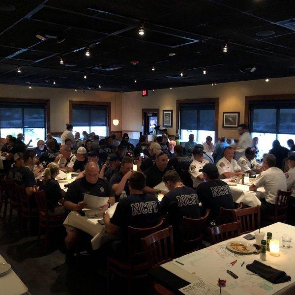 Bonefish Grill in North Charleston fed about 100 different first responders on Sept. 13, 2018. (Credit: @BFGCharleston/Twitter via CNN Wire)