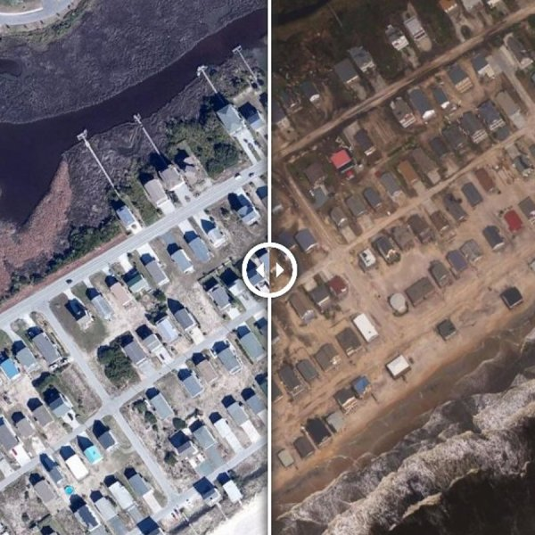 The southernmost portions of Topsail Beach's main thoroughfare, Anderson Boulevard, are still covered with dark standing water. The left image is from 2014 and the right image is from Sept. 17, 2018. (Credit: NOAA)