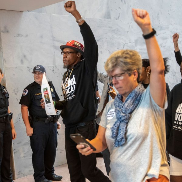 Protesters opposed to the confirmation of Brett Kavanaugh to the Supreme Court targeted the offices of swing vote Republican senators on Sept. 20, 2018, to pressure them to vote against President Donald Trump's nominee, who is denying allegations he sexually assaulted a woman when they were both in high school in the 1980s. (Credit: J. Scott Applewhite/AP via CNN)