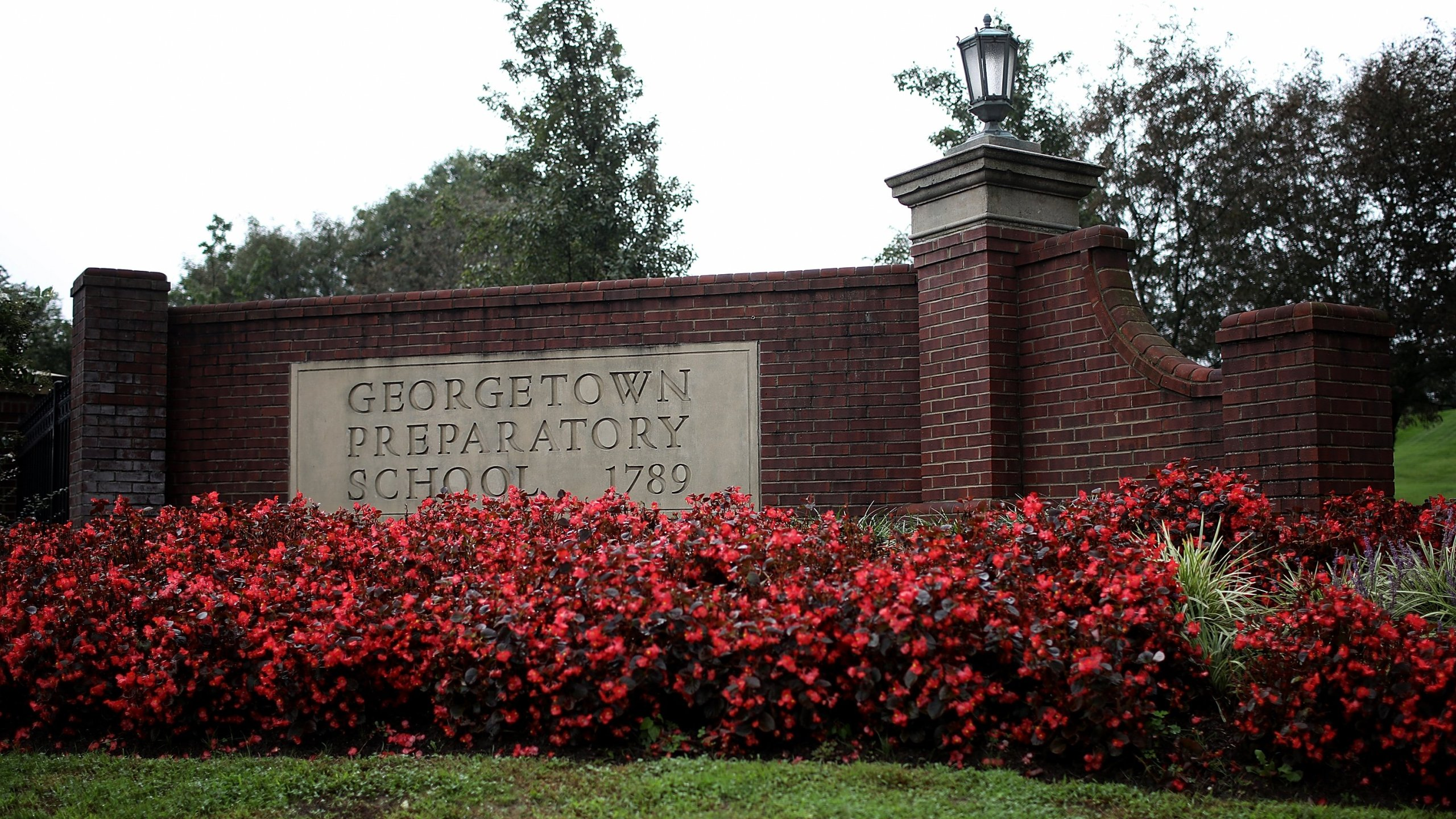 The entrance to the Georgetown Preparatory School is shown on Sept. 18, 2018, in Bethesda, Maryland. Supreme Court nominee Brett Kavanaugh attended the all-boys high school in the early 1980s. (Credit: Win McNamee/Getty Images)