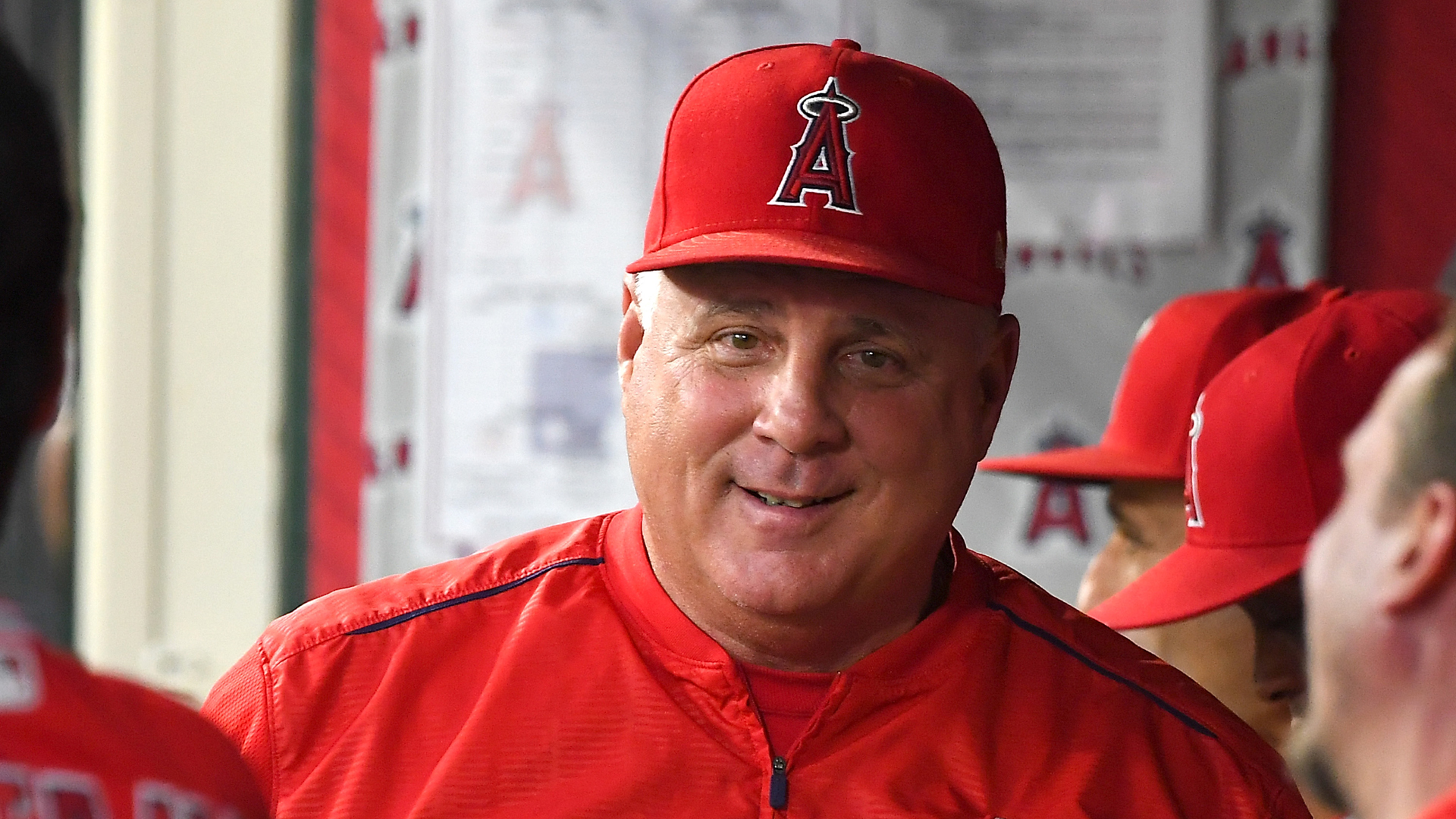 Manager Mike Scioscia of the Los Angeles Angels of Anaheim in the dugout during the game against the Seattle Mariners at Angel Stadium on September 13, 2018 in Anaheim. (Credit: Jayne Kamin-Oncea/Getty Images)