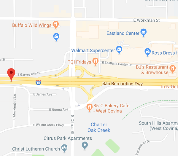 A map indicates the portion of the 10 Freeway where a multi-vehicle collision occurred on Sept. 3, 2018. (Credit: Google Maps)