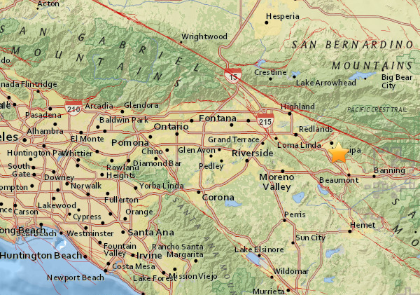 The U.S. Geological Survey posted this map showing the epicenter of an earthquake in Calimesa on Sept. 30, 2018.